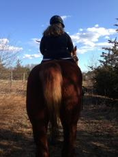 Viola and Julie riding off on a crisp, clear day.